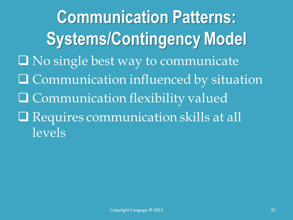 Communication Patterns: Systems/Contingency Model  No single best way to communicate  Communication influenced by situation  Communication flexibility valued  Requires communication skills at all levels Copyright Cengage © 201131