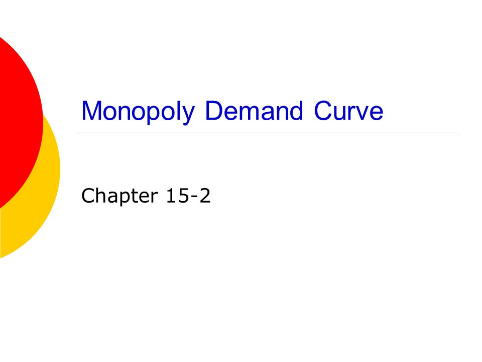 Monopoly Demand Curve Chapter 15-2