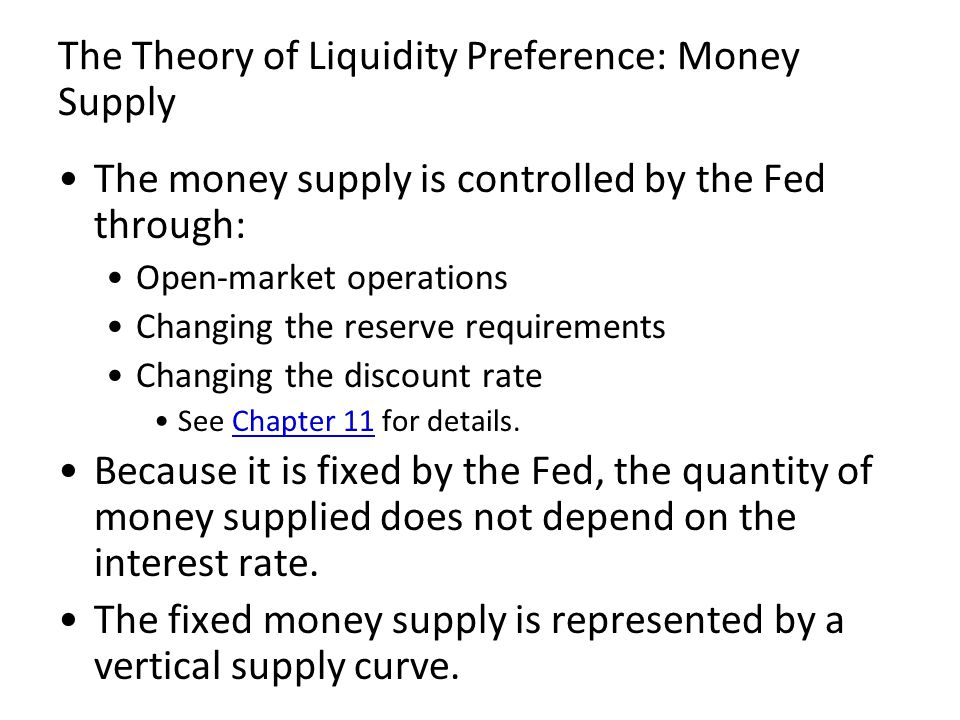 The Theory of Liquidity Preference: Money Supply The money supply is controlled by the Fed through: Open-market operations Changing the reserve requir