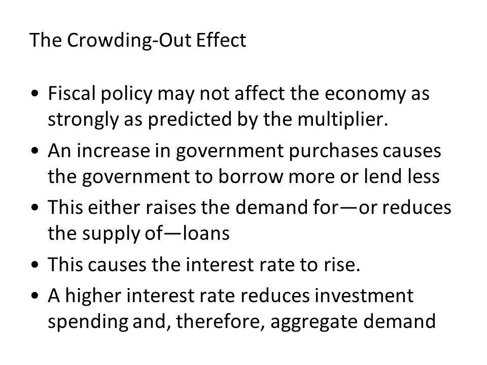 The Crowding-Out Effect Fiscal policy may not affect the economy as strongly as predicted by the multiplier. An increase in government purchases cause
