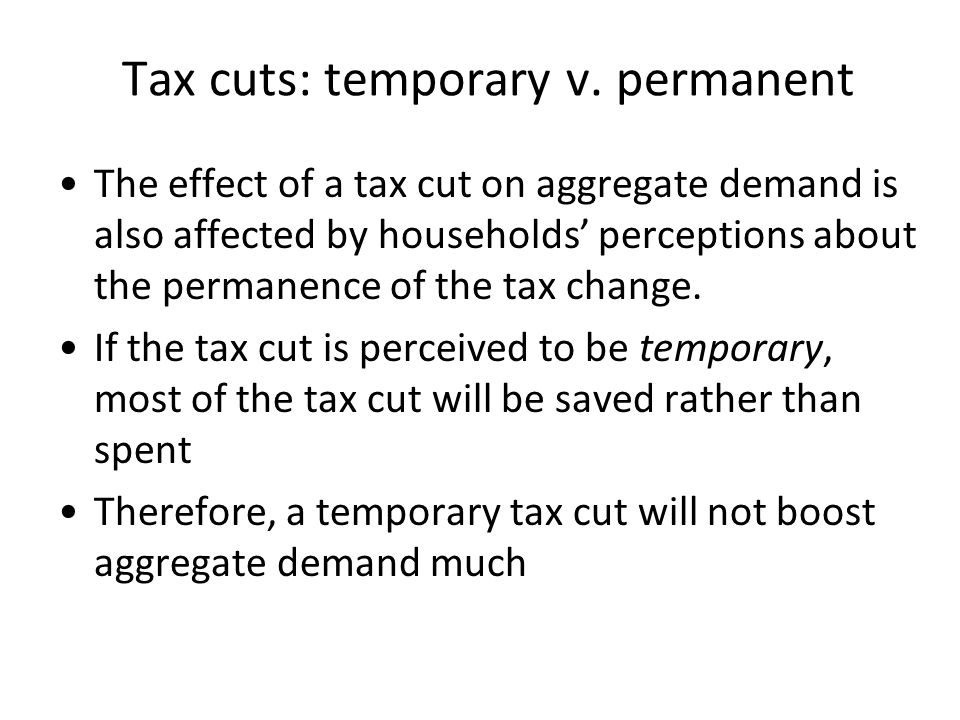 Tax cuts: temporary v.