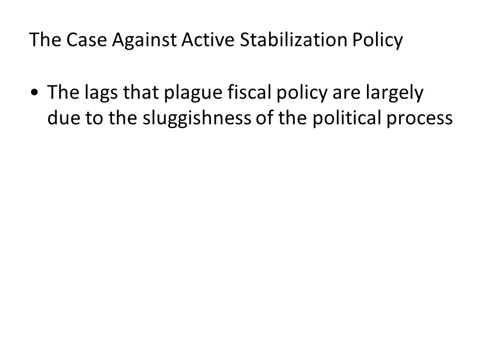 The Case Against Active Stabilization Policy The lags that plague fiscal policy are largely due to the sluggishness of the political process