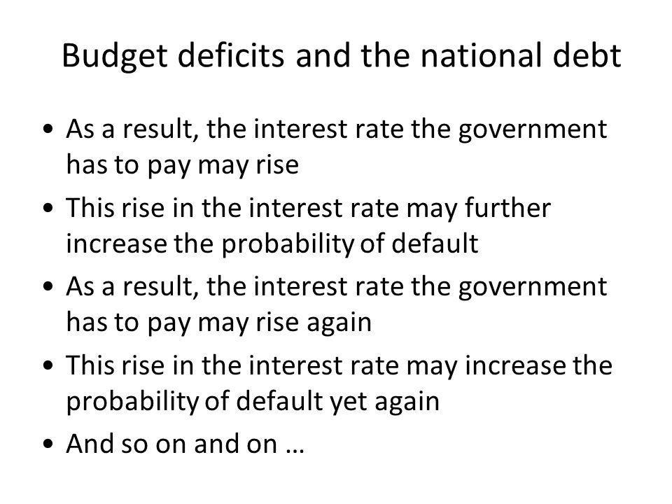 Budget deficits and the national debt As a result, the interest rate the government has to pay may rise This rise in the interest rate may further increase the probability of default As a result, the interest rate the government has to pay may rise again This rise in the interest rate may increase the probability of default yet again And so on and on …