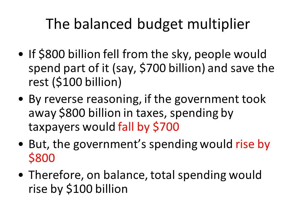 The balanced budget multiplier If $800 billion fell from the sky, people would spend part of it (say, $700 billion) and save the rest ($100 billion) B