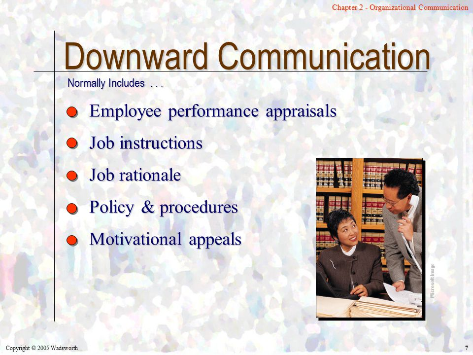Copyright © 2005 Wadsworth 28 Chapter 2 - Organizational Communication Virtual Organizations Temporary venture among several companies Each company has specialty Mutual adjustment as means of coordination Conditional employment