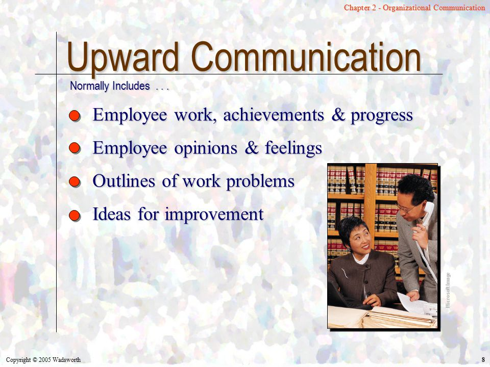 Copyright © 2005 Wadsworth 29 Chapter 2 - Organizational Communication Multiunit Organizations Separate and autonomous businesses Decentralized structure Flexibility of smaller businesses Microsoft Image