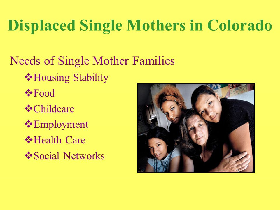 Displaced Single Mothers in Colorado Needs of Single Mother Families  Housing Stability  Food  Childcare  Employment  Health Care  Social Networks