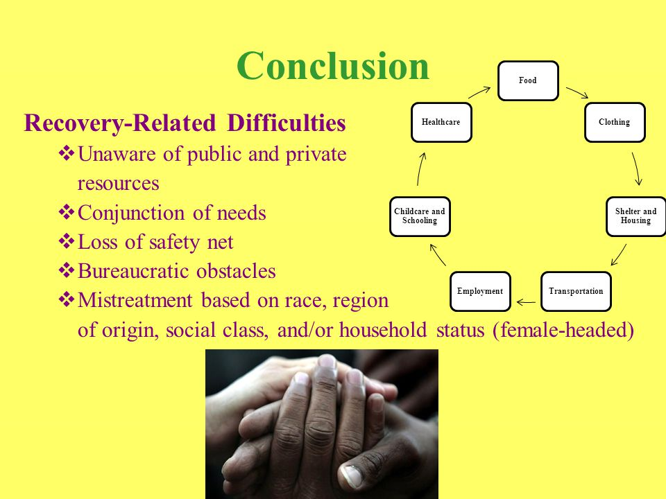Conclusion Recovery-Related Difficulties  Unaware of public and private resources  Conjunction of needs  Loss of safety net  Bureaucratic obstacles  Mistreatment based on race, region of origin, social class, and/or household status (female-headed) Food Clothing Shelter and Housing TransportationEmployment Childcare and Schooling Healthcare