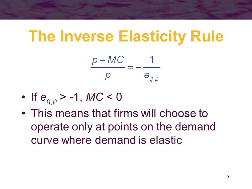 20 The Inverse Elasticity Rule If e q,p > -1, MC < 0 This means that firms will choose to operate only at points on the demand curve where demand is elastic