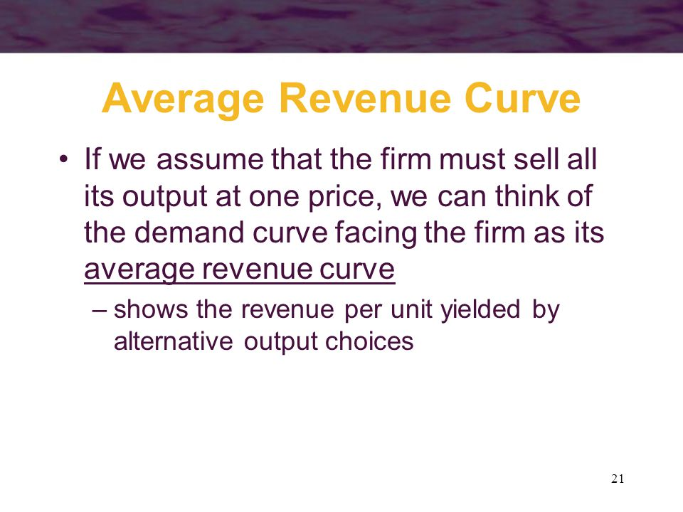 21 Average Revenue Curve If we assume that the firm must sell all its output at one price, we can think of the demand curve facing the firm as its average revenue curve –shows the revenue per unit yielded by alternative output choices