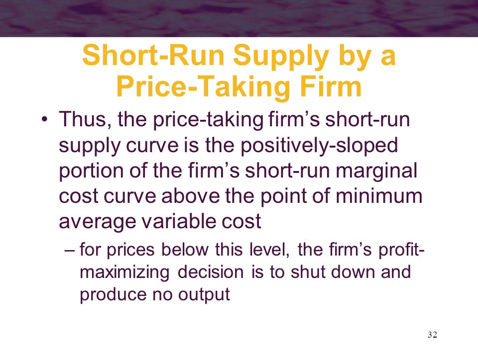 32 Short-Run Supply by a Price-Taking Firm Thus, the price-taking firm's short-run supply curve is the positively-sloped portion of the firm's short-run marginal cost curve above the point of minimum average variable cost –for prices below this level, the firm's profit- maximizing decision is to shut down and produce no output