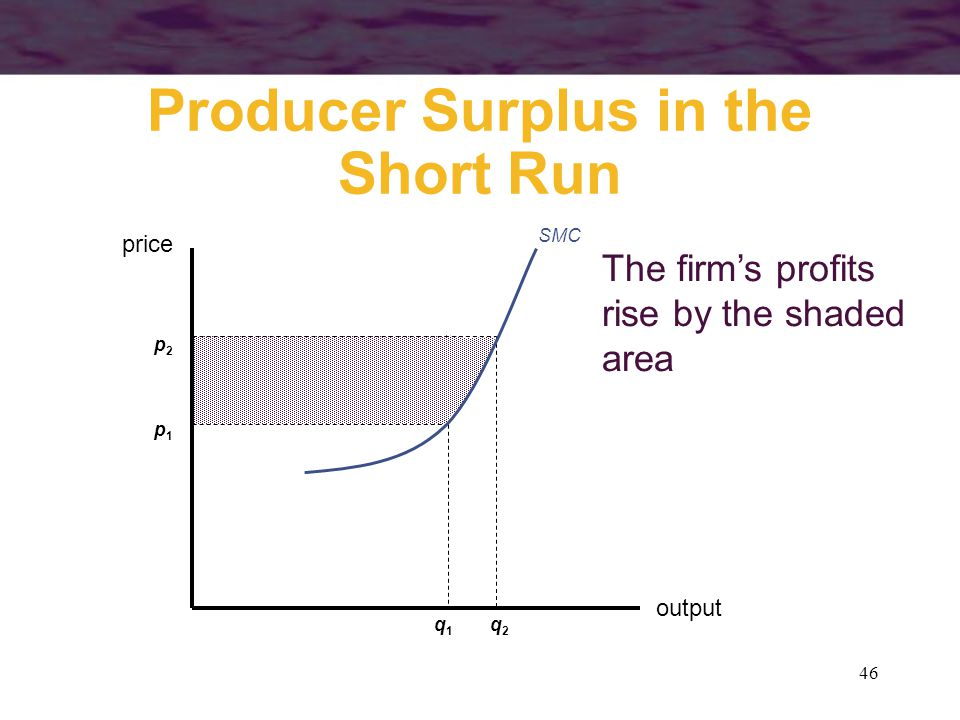 46 The firm's profits rise by the shaded area Producer Surplus in the Short Run output price SMC p1p1 q1q1 p2p2 q2q2