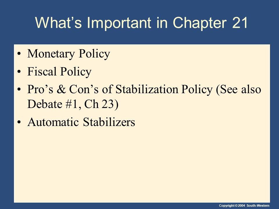 Copyright © 2004 South-Western What's Important in Chapter 21 Monetary Policy Fiscal Policy Pro's & Con's of Stabilization Policy (See also Debate #1,