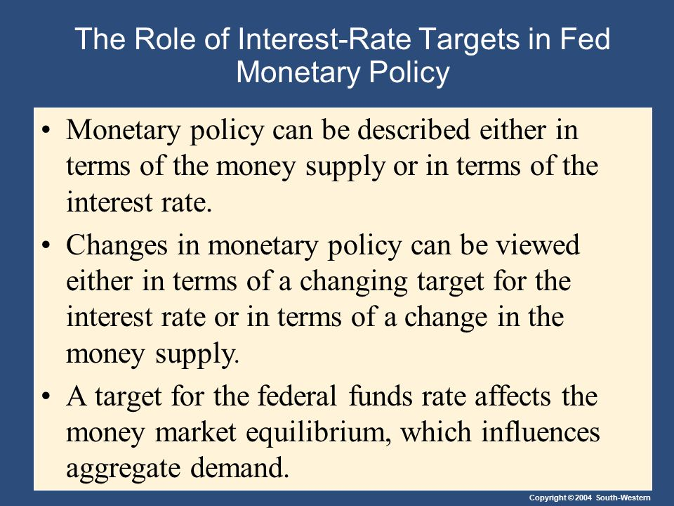 Copyright © 2004 South-Western The Role of Interest-Rate Targets in Fed Monetary Policy Monetary policy can be described either in terms of the money
