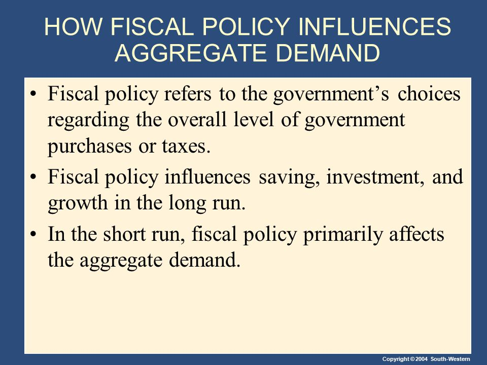 Copyright © 2004 South-Western HOW FISCAL POLICY INFLUENCES AGGREGATE DEMAND Fiscal policy refers to the government's choices regarding the overall le