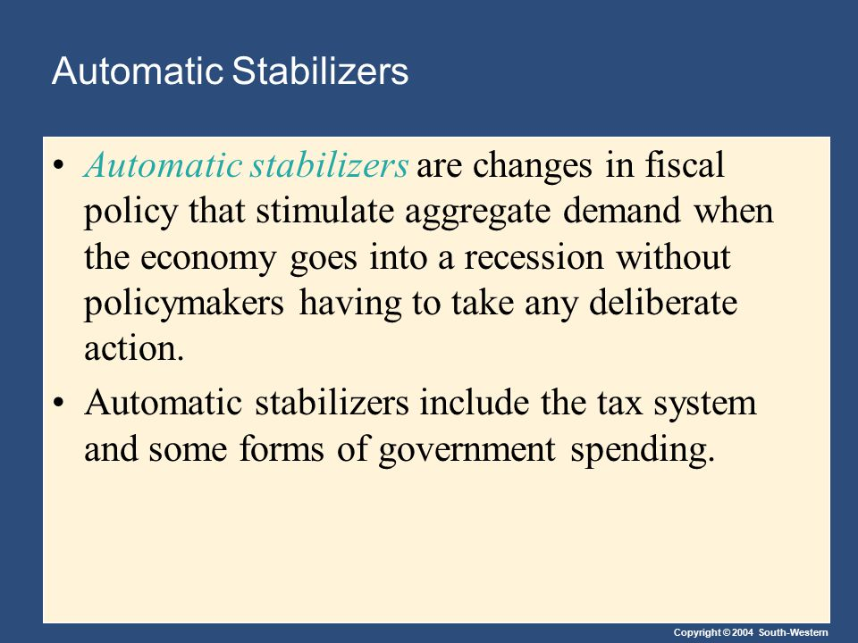 Copyright © 2004 South-Western Automatic Stabilizers Automatic stabilizers are changes in fiscal policy that stimulate aggregate demand when the econo