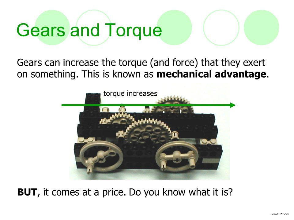 ©2006 4H-CCS Gears and Torque Gears can increase the torque (and force) that they exert on something. This is known as mechanical advantage. BUT, it c