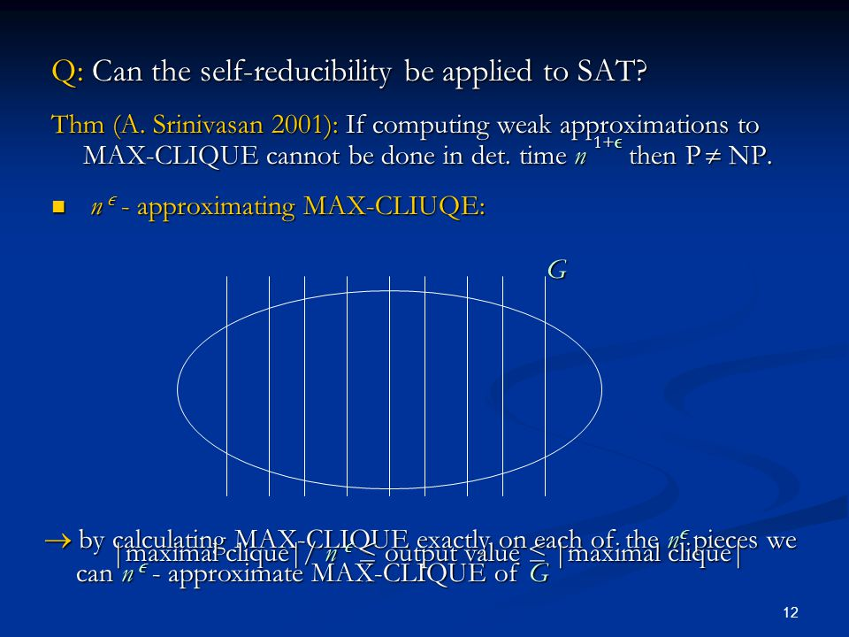 12 Q: Can the self-reducibility be applied to SAT.