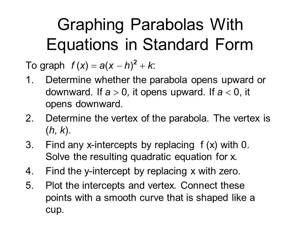 Step 1 Determine how the parabola opens.Note that a, the coefficient of x 2, is -2.