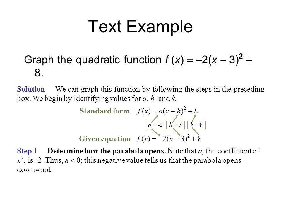   2(x  3) 2  8 Find x-intercepts, setting f (x) equal to zero.