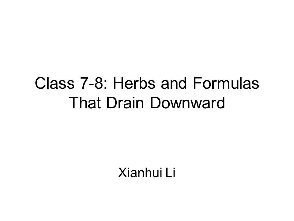 Formulas that Purge Heat Accumulation –Major Order the Qi Decoction (da cheng qi tang) FS: p115 –Minor Order the Qi Decoction (xiao cheng qi tang) FS: p117 –Regulate the Stomach and Order the Qi Decoction (tiao wei cheng qi tang) FS: p117 Formulas that Moisten the Intestines and Unblock the Bowels –Hemp Seed Pill (ma zi ren wan) FS: p123 –Moisten the Intestines Pill from Master Shen s Book (run chang wan) FS: p125 –Benefit the River [flow] Decoction (ji chuan jian) FS: p125 Formulas that Warm the Yang and Guide Out Accumulation –Rhubarb and Prepared Aconite Decoction (da huang fu zi tang) FS: p126 Formulas that Drive Out Excess Water –Ten-Jujube Decoction (shi zao tang) FS: p128
