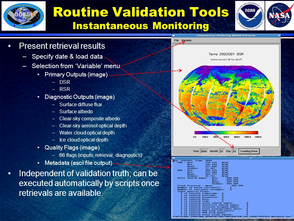 Routine Validation Tools Instantaneous Monitoring Present retrieval results –Specify date & load data –Selection from 'Variable' menu Primary Outputs (image) –DSR –RSR Diagnostic Outputs (image) –Surface diffuse flux –Surface albedo –Clear-sky composite albedo –Clear-sky aerosol optical depth –Water cloud optical depth –Ice cloud optical depth Quality Flags (image) –66 flags (inputs, retrieval, diagnostics) Metadata (ascii file output) Independent of validation truth; can be executed automatically by scripts once retrievals are available.