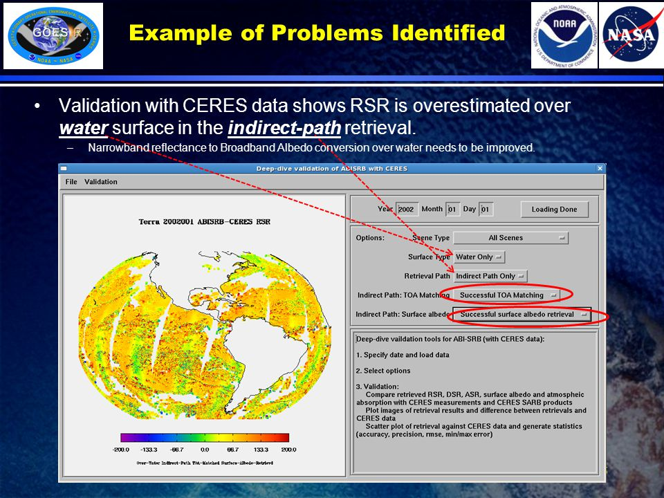 Example of Problems Identified 15 Validation with CERES data shows RSR is overestimated over water surface in the indirect-path retrieval.