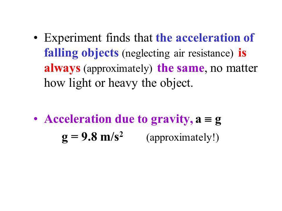 v 1 = (9.8)(1) = 9.8 m/s v 2 = (9.8)(2) = 19.6 m/s v 3 = (9.8)(3) = 29.4 m/s Example 2-10: Falling from a Tower Note: y is positive DOWNWARD.