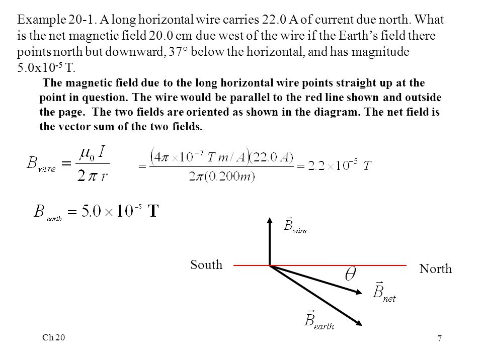Ch 20 7 Example 20-1. A long horizontal wire carries 22.0 A of current due north.