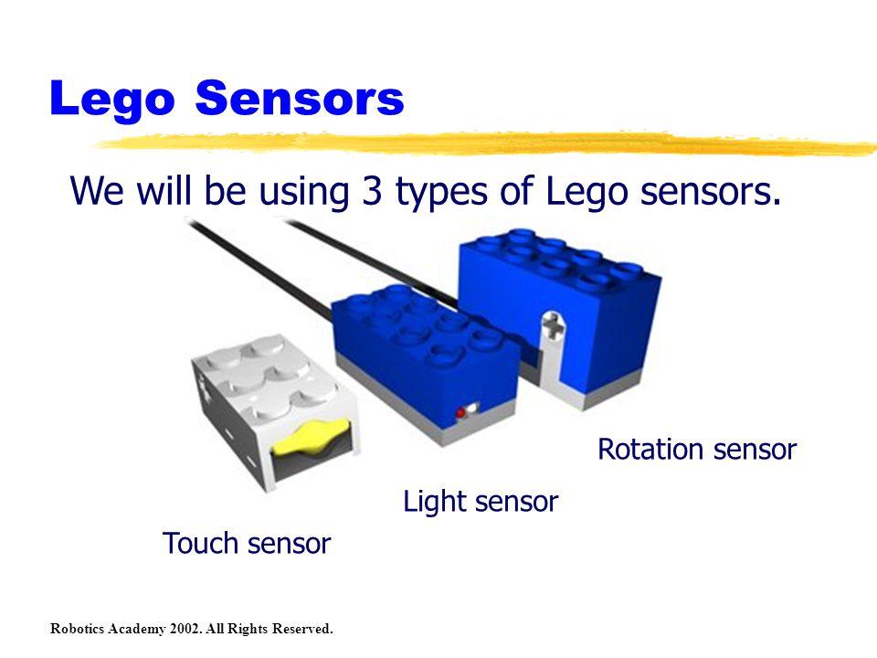 Robotics Academy 2002. All Rights Reserved. Lego Sensors We will be using 3 types of Lego sensors. Touch sensor Light sensor Rotation sensor