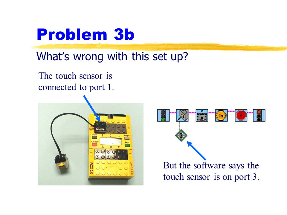 Problem 3b What's wrong with this set up? The touch sensor is connected to port 1. But the software says the touch sensor is on port 3.