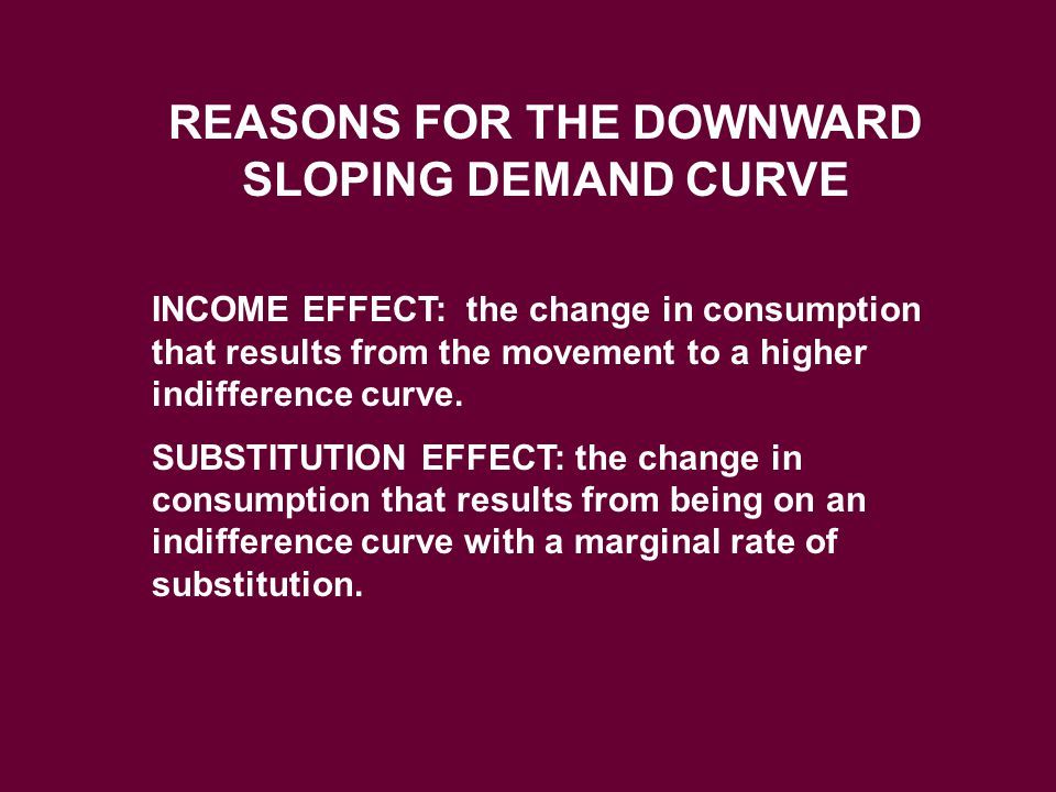 REASONS FOR THE DOWNWARD SLOPING DEMAND CURVE INCOME EFFECT: the change in consumption that results from the movement to a higher indifference curve.