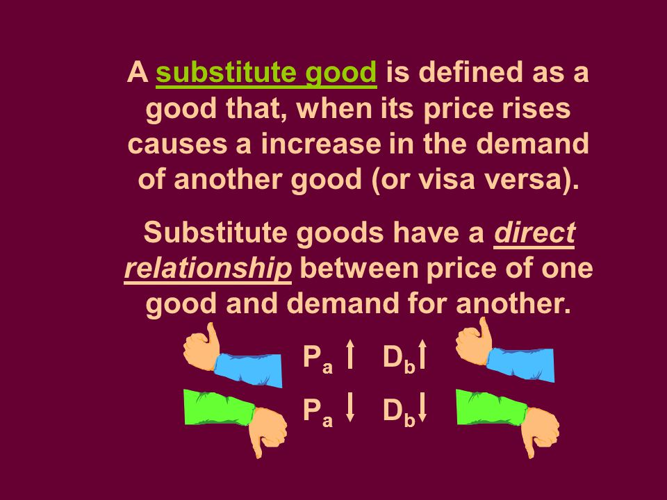 A substitute good is defined as a good that, when its price rises causes a increase in the demand of another good (or visa versa). Substitute goods ha