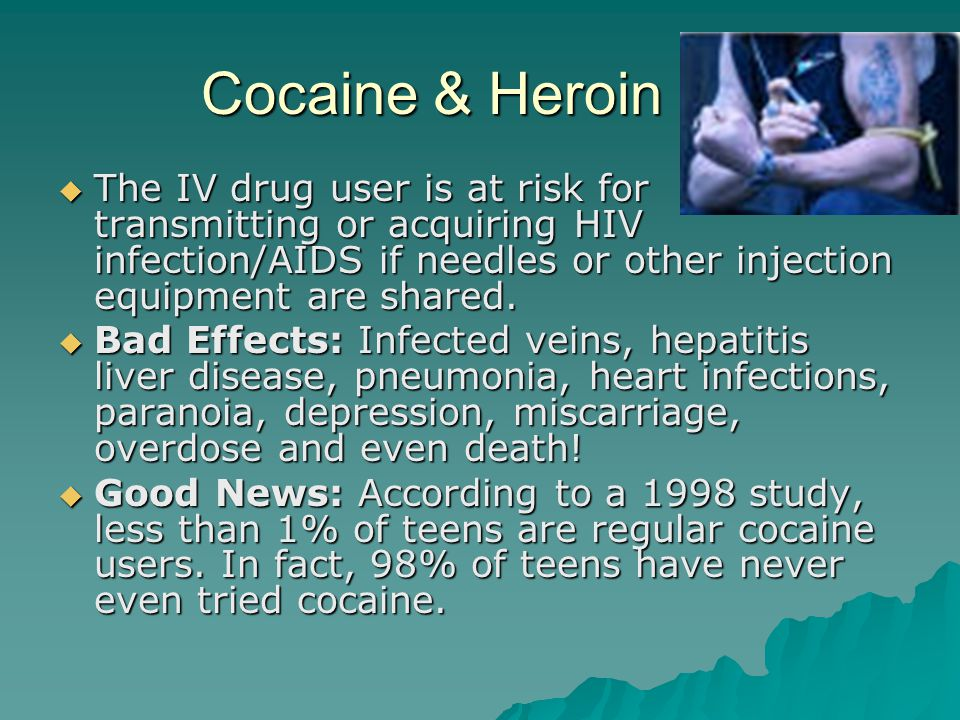 Cocaine & Heroin  The IV drug user is at risk for transmitting or acquiring HIV infection/AIDS if needles or other injection equipment are shared.