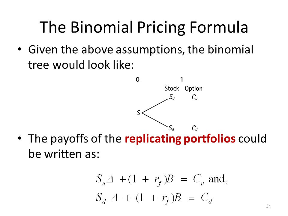 The Binomial Pricing Formula Given the above assumptions, the binomial tree would look like: The payoffs of the replicating portfolios could be writte