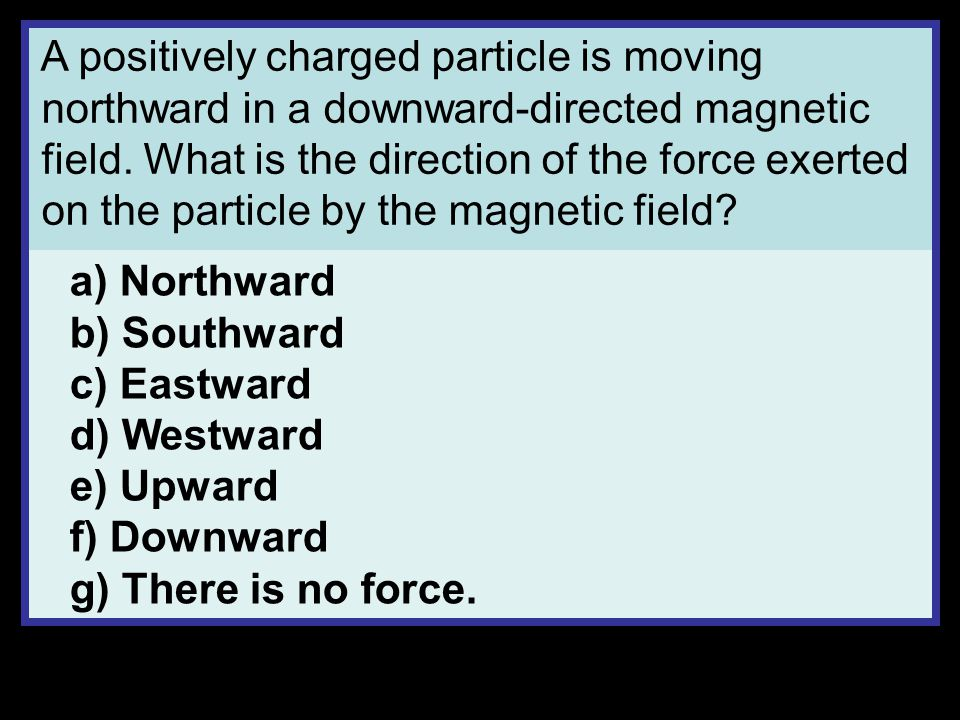 A negatively-charged particle is moving upward in an eastward-directed magnetic field.
