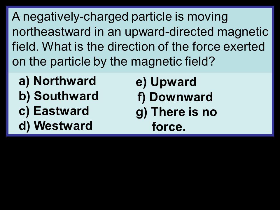 a) Northward b) Southward c) Eastward d) Westward e) Upward f) Downward g) There is no force.