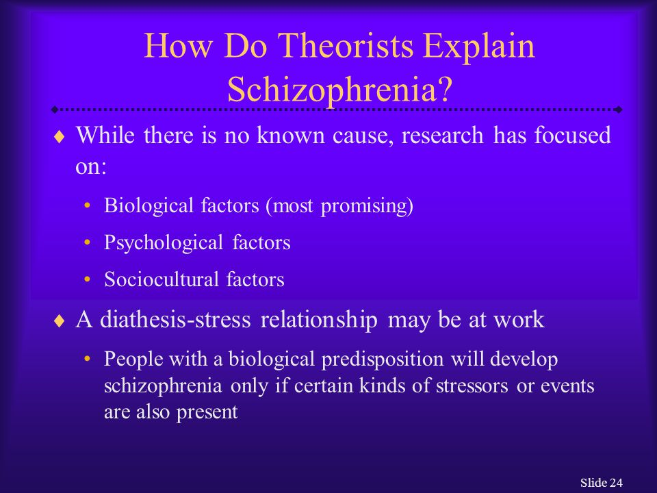 Slide 24 How Do Theorists Explain Schizophrenia?  While there is no known cause, research has focused on: Biological factors (most promising) Psychol