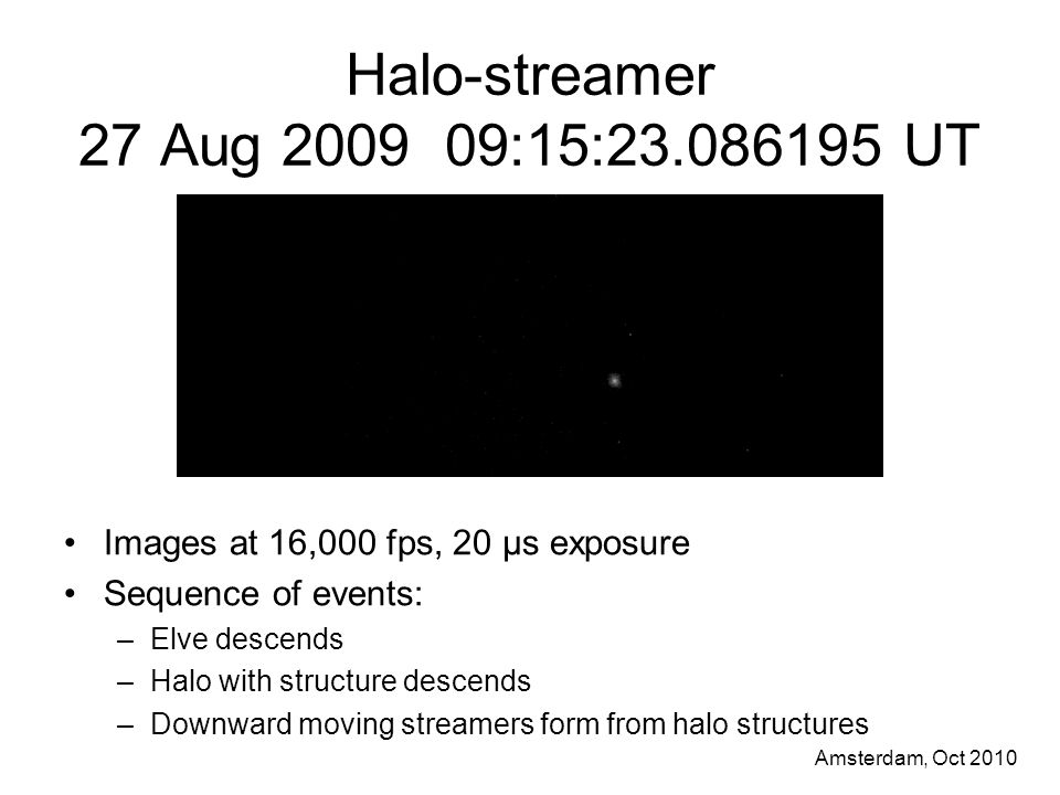 Amsterdam, Oct 2010 Halo-streamer 27 Aug 2009 09:15:23.086195 UT Images at 16,000 fps, 20 μs exposure Sequence of events: –Elve descends –Halo with structure descends –Downward moving streamers form from halo structures