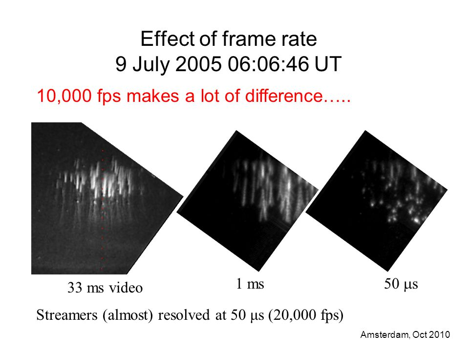 Amsterdam, Oct 2010 Effect of frame rate 9 July 2005 06:06:46 UT Streamers (almost) resolved at 50 μs (20,000 fps) 33 ms video 1 ms 50  s 10,000 fps makes a lot of difference…..