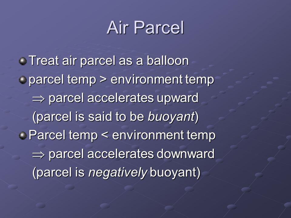 Air Parcel Treat air parcel as a balloon parcel temp > environment temp  parcel accelerates upward (parcel is said to be buoyant) Parcel temp < environment temp  parcel accelerates downward (parcel is negatively buoyant)