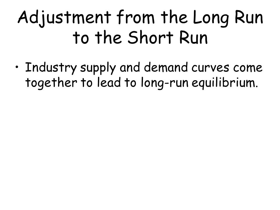 Adjustment from the Long Run to the Short Run Industry supply and demand curves come together to lead to long-run equilibrium.