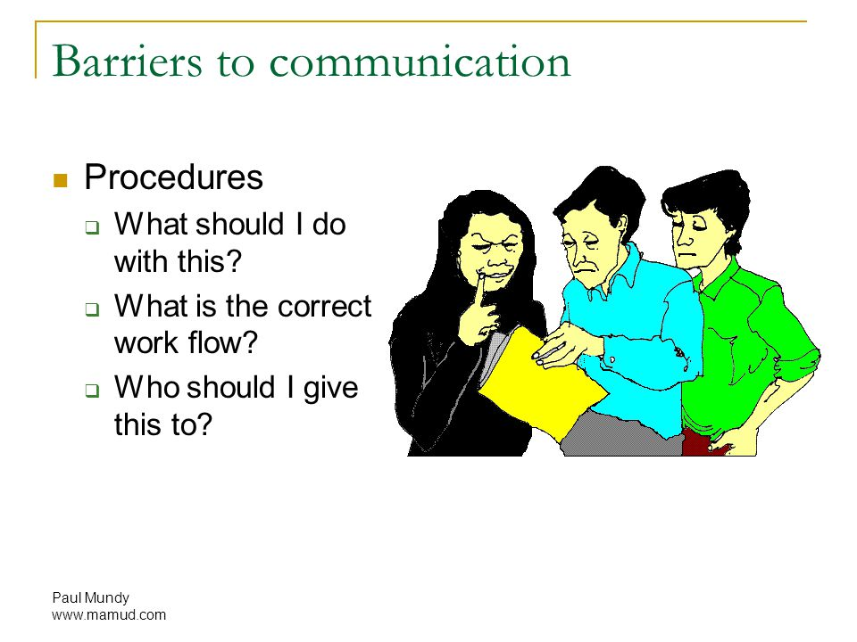 Paul Mundy www.mamud.com Barriers to communication Procedures  What should I do with this.