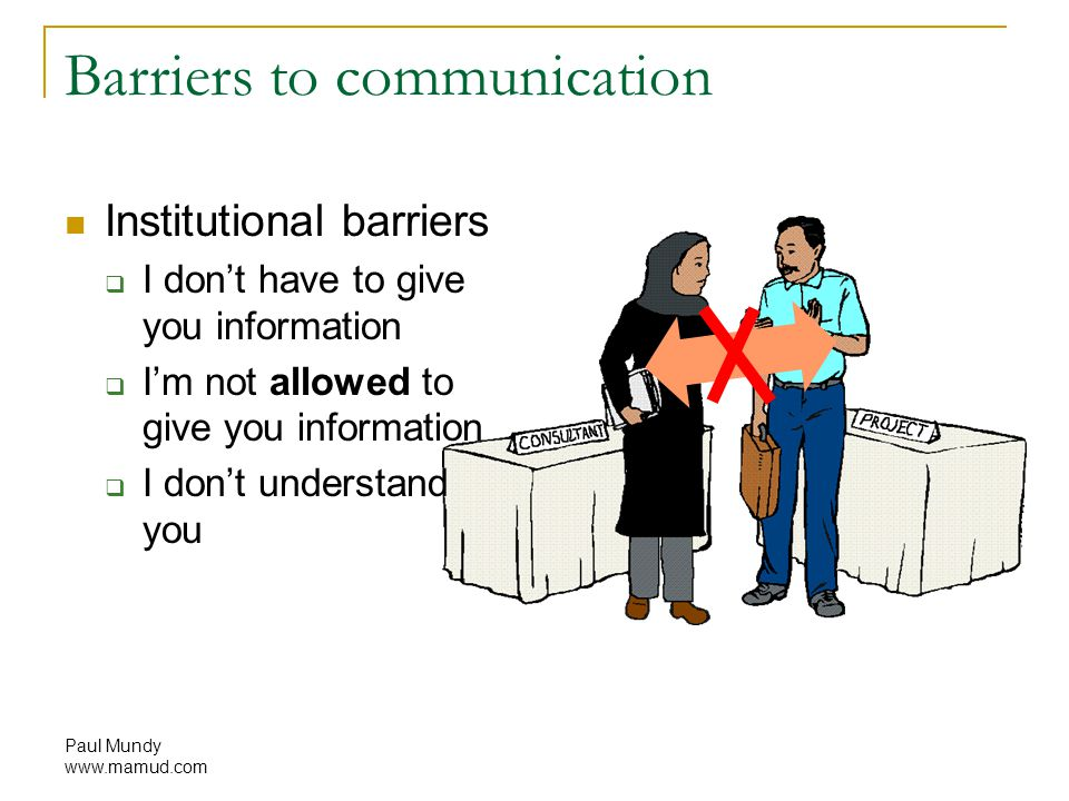 Paul Mundy www.mamud.com Barriers to communication Institutional barriers  I don't have to give you information  I'm not allowed to give you information  I don't understand you