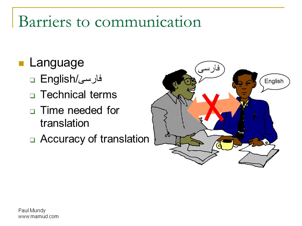 Paul Mundy www.mamud.com Barriers to communication Language  English/فارسی  Technical terms  Time needed for translation  Accuracy of translation