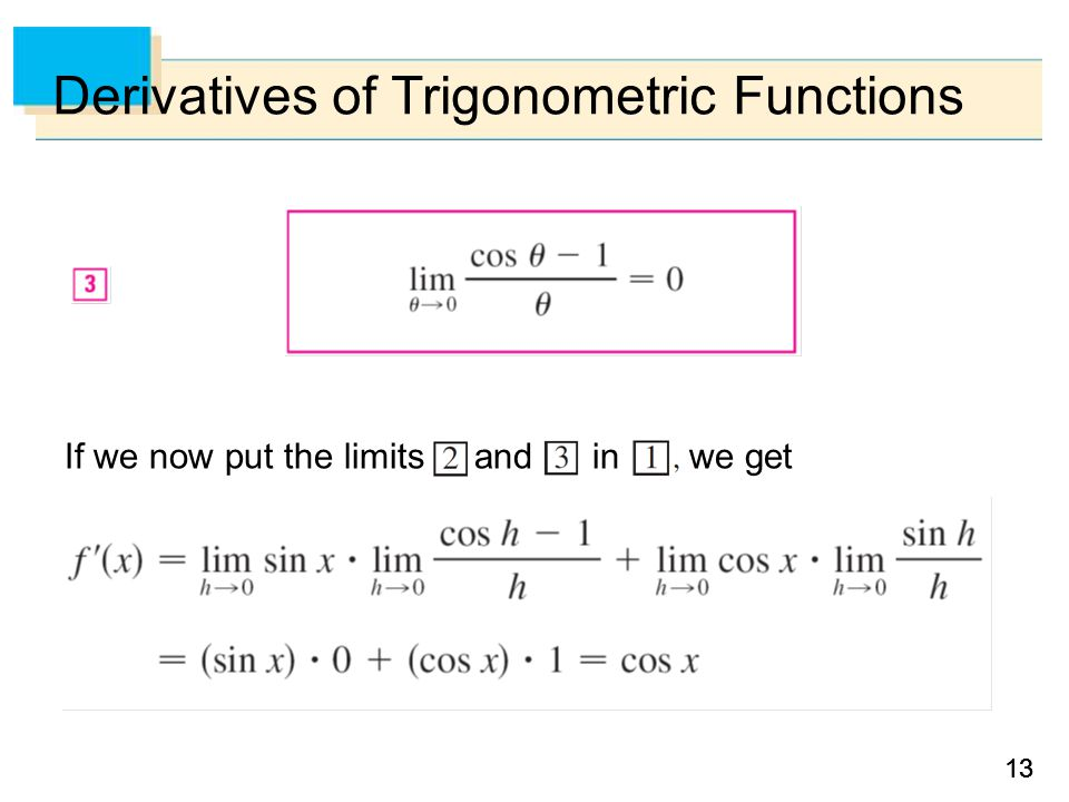 13 Derivatives of Trigonometric Functions If we now put the limits and in we get