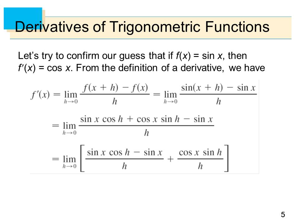 55 Derivatives of Trigonometric Functions Let's try to confirm our guess that if f (x) = sin x, then f (x) = cos x.