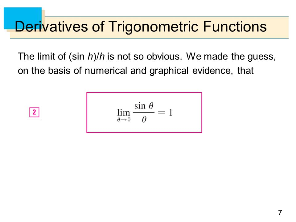 77 Derivatives of Trigonometric Functions The limit of (sin h)/h is not so obvious.