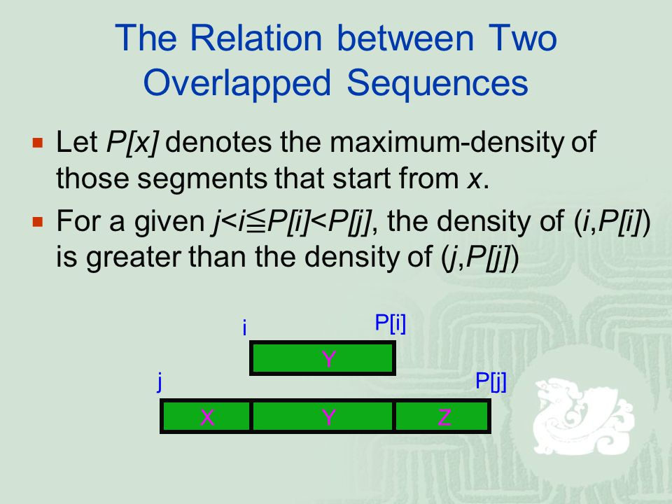 The Relation between Two Overlapped Sequences  Let P[x] denotes the maximum-density of those segments that start from x.  For a given j<i ≦ P[i]<P[j