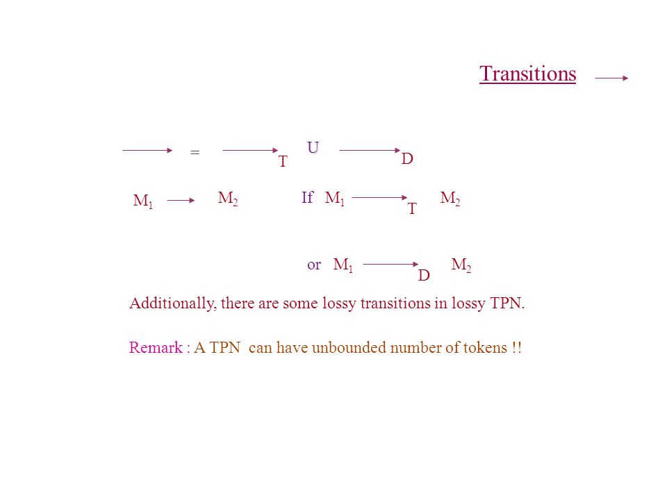 Transitions = T D U M1M1 M2M2 If M 1 T M2M2 or M 1 D M2M2 Remark : A TPN can have unbounded number of tokens !.